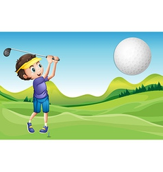 Boy playing golf vector image