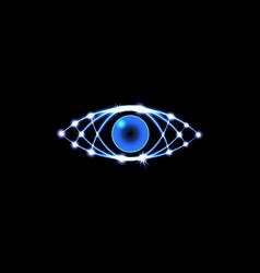 brilliant technological eye hud on a black vector image vector image