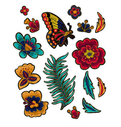 Butterfly with flowers embroidery elements vector