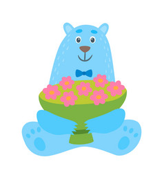 cartoon polar bear with cup flowers vector image