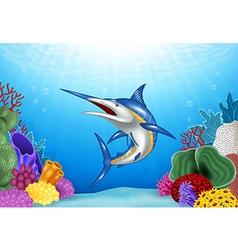 Cartoon xiphias with coral reef underwater vector