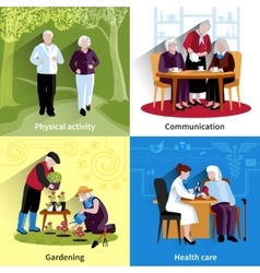 Elderly People Concept Icons Set vector image vector image