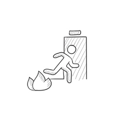 Emergency fire exit door sketch icon vector image vector image