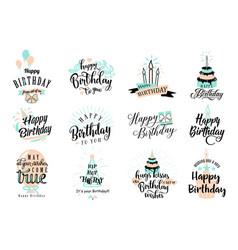happy birthday badge set vector image vector image
