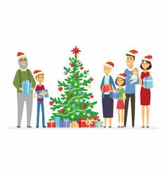 Happy family celebrates christmas - cartoon people vector