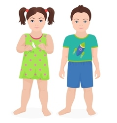 Happy little boy and girl kids together isolated vector image vector image