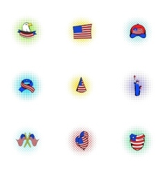 Holiday of usa icons set pop-art style vector
