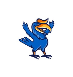 Hornbill open arms full body cartoon vector