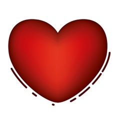 Isolated red heart design vector image