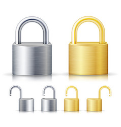 locked and unlocked padlock realistic set vector image vector image