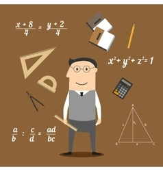 Mathematician or teacher and education icons vector image