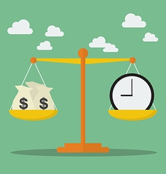 Money and Time balance on the scale vector image vector image