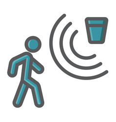 Motion detector colorful line icon security guard vector