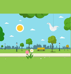Park nature landscape empty urban garden vector
