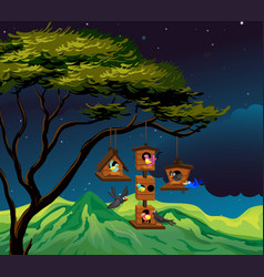 scene with birdhouse hanging on tree vector image vector image