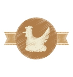 Seal stamp of chicken icon vector