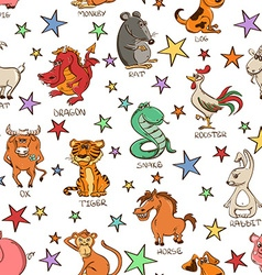 Seamless Pattern of Chinese Zodiac Animals Signs vector image