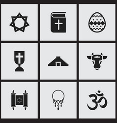 Set of 9 editable faith icons includes symbols vector