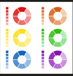 set of circular spectrum wheels rounded diagrams vector image