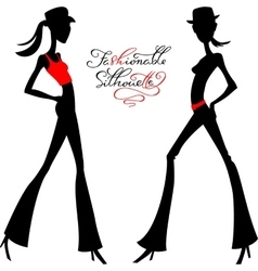 silhouette of fashion girls top models vector image