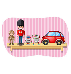 Soldier toys and robots on shelf vector