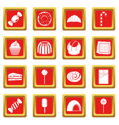 Sweets and candies icons set red vector