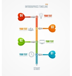 Timeline infographic and dart arrow vector