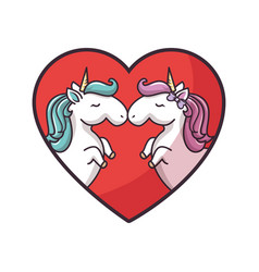 Two unicorns in love vector