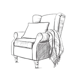 Cozy armchair and warm blanket vector