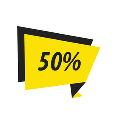 Fifty percent label origami black yellow vector