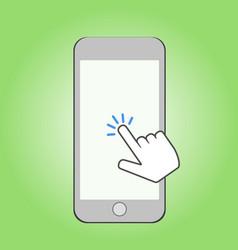 smartphone and click cursor finger sign click vector image