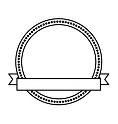 Circle seal stamp with ribbon frame vector