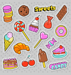 sweets and bakery doodle candies ice cream vector image