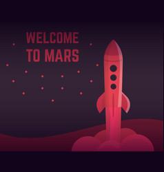 Rocket in red colors vector