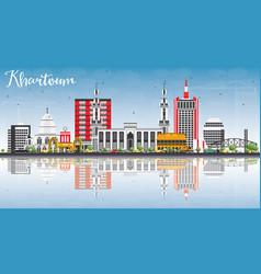 Khartoum skyline with gray buildings blue sky and vector
