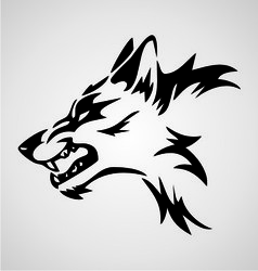 Angry wolf tribal vector