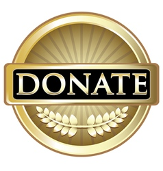 Donate gold label vector