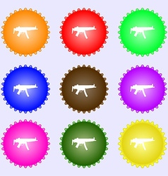Machine gun icon sign a set of nine different vector
