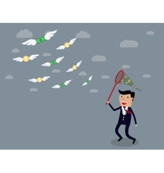 Businessman running with butterfly net vector image