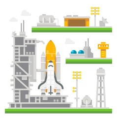 Flat design shuttle launch station vector