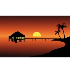 Hut in beach landscape vector