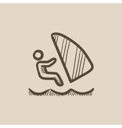 Wind surfing sketch icon vector