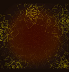 Abstract brown background with tribal floral vector