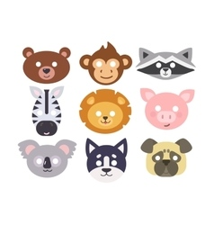 Animals carnival mask set vector
