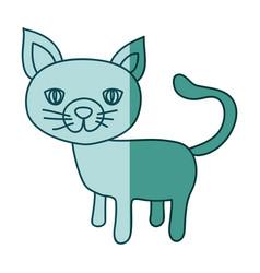 Aquamarine hand drawn silhouette of cat vector