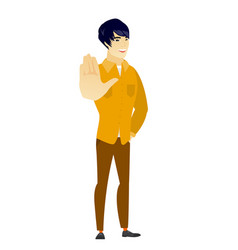 Asian business man showing palm hand vector