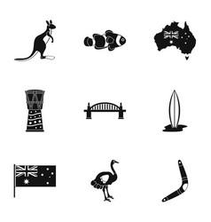 australia icon set simple style vector image