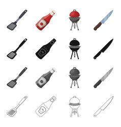 barbecue knife rest and other web icon in vector image vector image