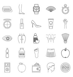 Beautiful body icons set outline style vector