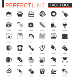 Black classic fast food web icons set vector